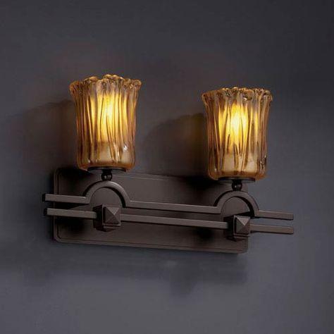 Dark Bronze Finish with Amber Venetian Glass Shade Justice Design Group Veneto Luce 2-Light Bath Bar