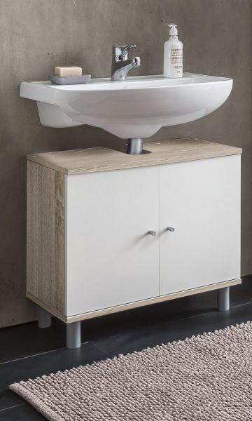 Waschbecken Unterschrank 2 Trg Sonoma Eiche Weiss Melamin