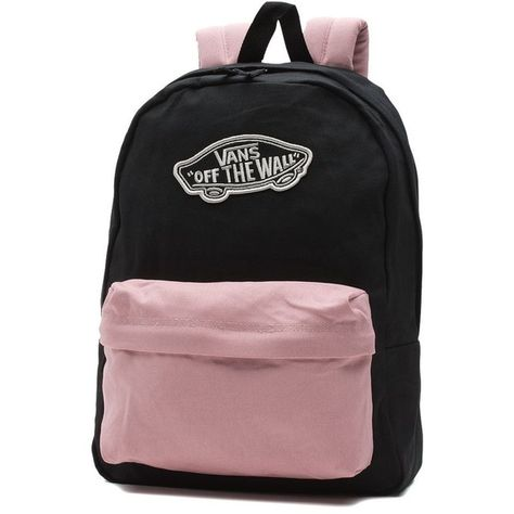 Vans Realm Backpack ($35) ❤ liked on Polyvore featuring bags, backpacks, pink, rucksack bags, vans bags, pink backpack, daypack bag and polyester backpack