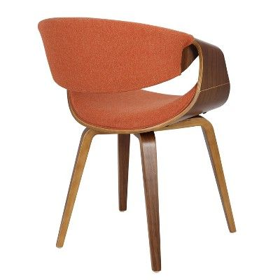 Curvo Mid Century Modern Dining Accent Chair Orange Lumisource Lumisource Mid Century Modern Dining Dining Chairs