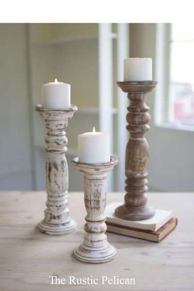 Candle Holders Tall Wood Candle Holders Set Of Three 3 These Beautiful Farmhouse Candle Hold Wooden Candle Holders Candle Holders Farmhouse Candle Holders