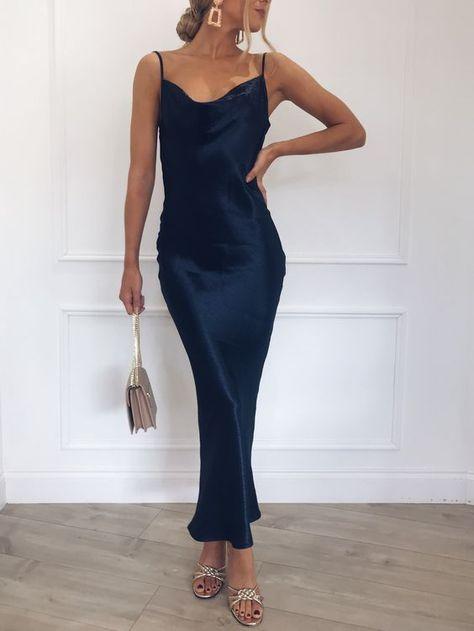 Simple Sheath Cowl Neck Backless Navy Blue Satin Tea Length Prom Dresses,Evening Party Dresses Under 100
