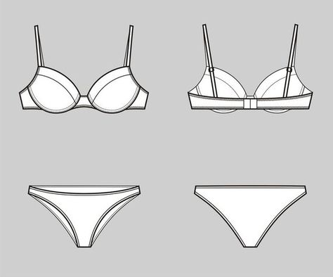 Bra and underwear vector fashion flat sketch,Adobe Illustrator design,technical outline,flat drawing