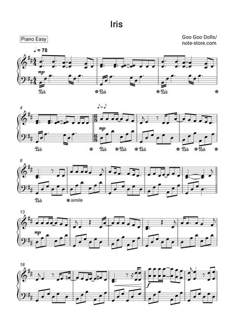 Goo Goo Dolls Iris Sheet Music For Piano Pdf Piano Easy Sheet Music Printable Sheet Music Flute Sheet Music