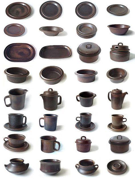 Arabia of Finland Ruska Big Bowl Stoneware Designed by Ulla Proscope Brown Stoneware Plate 1970s
