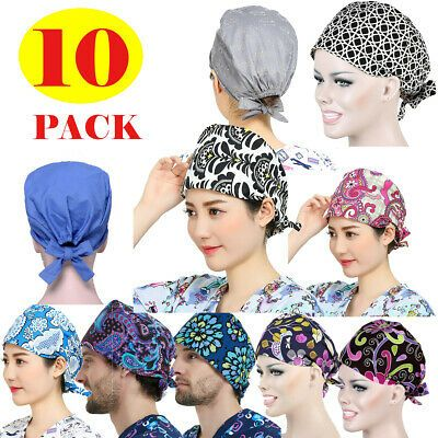 Doctor//Nurses Printed Cotton Scrub Cap Medical Surgery Surgical Hat Hair Cover