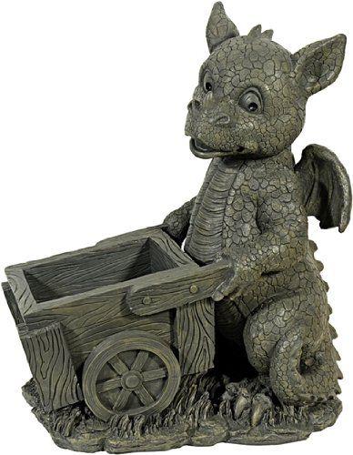 Drachenkind mit Blumenstrauss Drache Figur Gartenfigur Blume TOP