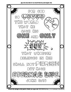 John 3 16 Coloring Page And Word Puzzles Word Puzzles Coloring