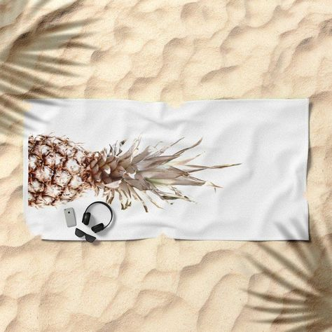 Pineapple Society6 Beach Towel by ARTbyJWP in a fabulous beach outfit. #beachtowel #towels #beachaccessories #beachessentials #shop #sales #prints #summeraccessories #summeressentials #pineappletowel #pineapple