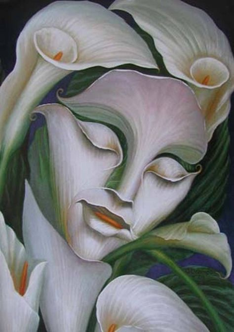 Octavio Ocampo - Lady Flower- 8x10 - Mexican Art