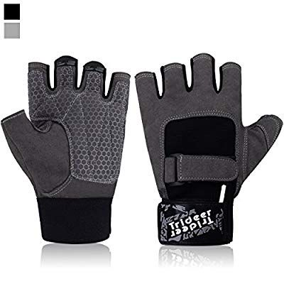 Weight Lifting Gym Gloves Mens Leather Workout Cycling Wrist Wraps Padded Grips