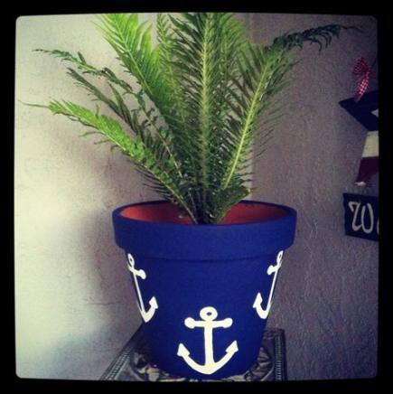 Handpainted Sea theme flower pot