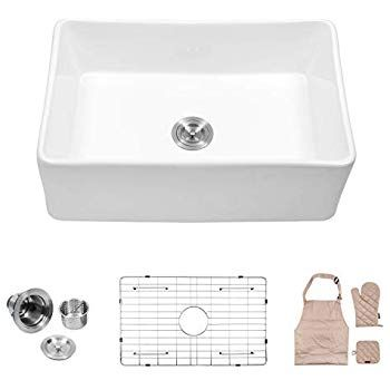 Ruvati 33 X 20 Inch Fireclay Reversible Farmhouse Apron Front Kitchen Sink Single Bow Apron Front Kitchen Sink Fireclay Farmhouse Sink Farmhouse Sink