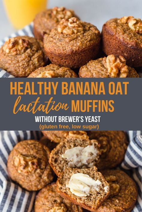 Recipes Breakfast Fast Healthy Banana Oat Lactation muffin to boost milk supply without Brewer's yeast. Gluten free and low suagr it's makes a great breakfast. Banana Oat Muffins, Banana Oats, Muffins Sans Gluten, Muffins Sains, Lactation Recipes, Lactation Foods, Healthy Lactation Cookies, Lactation Smoothie, Baby Food Recipes