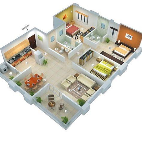 wow ! ini dia denah rumah minimalis type 45 3 kamar