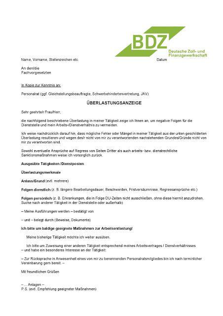 Bdz Deutsche Zoll Und Finanzgewerkschaft Ortsverband Bremen Bdz Muster Einer Uberlastungsanzeige Finanzen Bremen Gewerkschaft