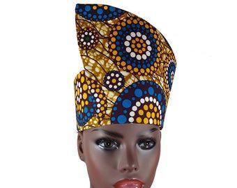 Free Shipping Sizes XS to XXL African Print Tribal Hat Headdress Crown Kufi Handmade