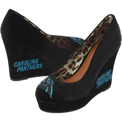 Cuce Carolina Panthers Ladies Groupie High Heel Wedges - Black- I would love to wear these to work