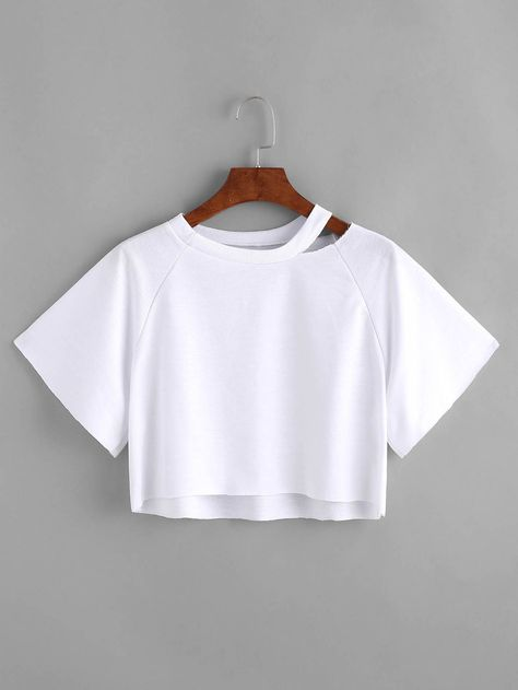 41e21d53f2 Shop Cut Out Neck Dip Hem Crop Tee online. SheIn offers Cut Out Neck Dip  Hem Crop Tee & more to fit your fashionable needs.