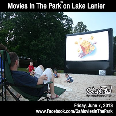Grab your beach towel and swim suit for Atlanta's most family friendly outdoor movie series is returning to the beach this summer.     Movies in the Park™ on Lake Lanier in Dawsonville - June 7, 2013.        Enjoy a swim on the beach, play in the sand or join in on a volleyball game during the day and stay for the evening for an unique outdoor movie event on the Lake.  You can even camp the night.      To find out about other Movies in the Park™ events visit: www.Facebook.com/GaMoviesInThePark