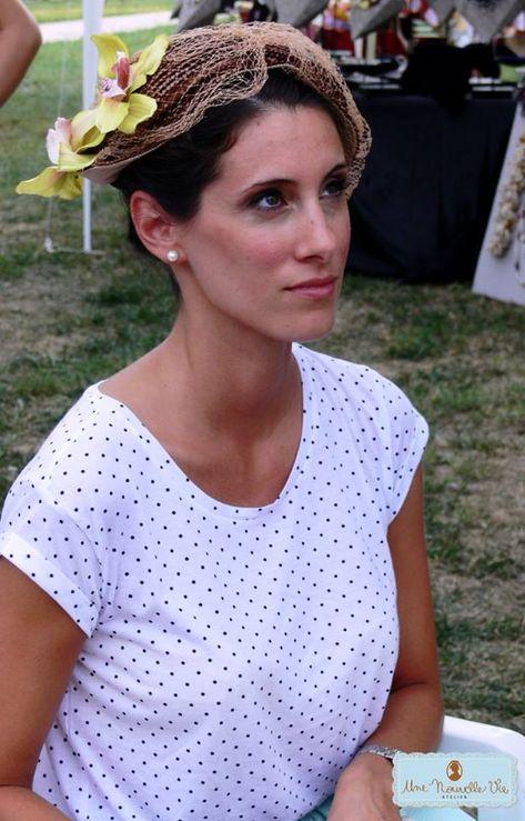 Cappellino vintage in paglia con veletta anni '70