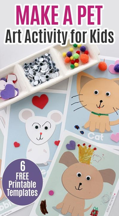 Make A Pet Art Activity With 6 Free Printable Templates Animal Activities  For Kids, Cat Crafts Preschool, Pets Preschool Theme