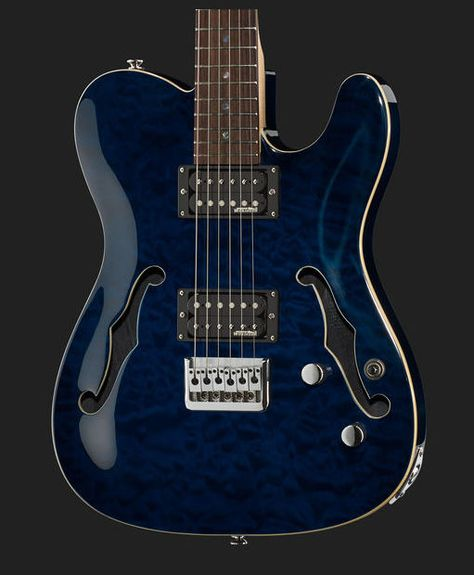 Harley Benton Te 90qm Hh Trans Blue Gitarre
