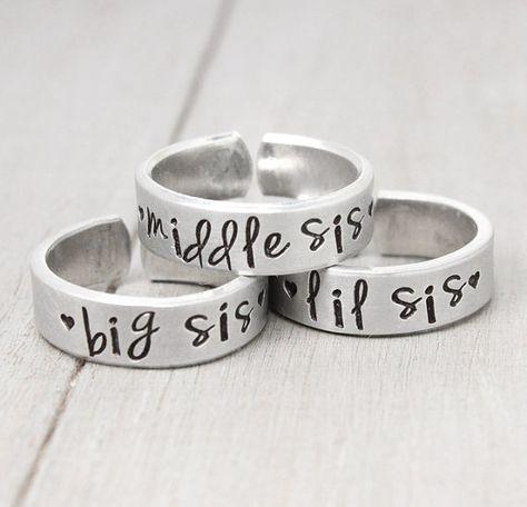 Sisters Rings, Sisters Jewelry, Big Sister Ring, Little Sister Ring, Sorority Sisters, Sisters Gifts, Hand Stamped Rings