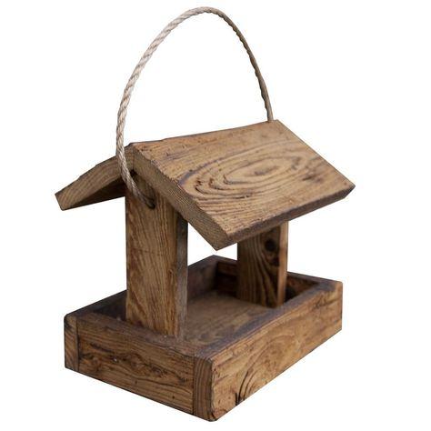 Hanging Rustic Barnwood Bird Feeder (Rustic Feeder), Brown, Outdoor Décor