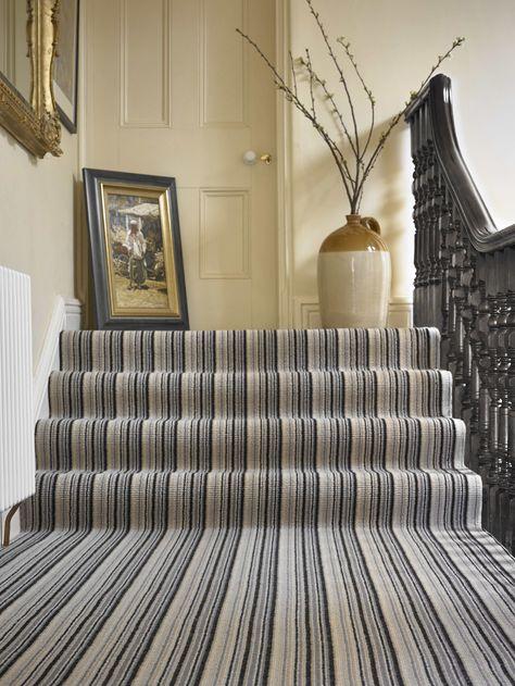 Brockway Portofino Nero Stripe Photo Courtesy Of Brockway Carpets Striped Carpet Stairs Striped Carpets Carpet Stairs