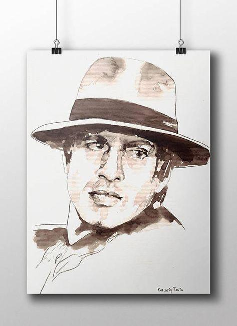 Adriano Celentano Print Printables Watercolor Print Retro