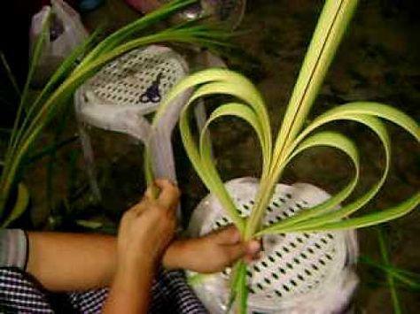 Palaspas Making Heart Design Part 2 Youtube Flax Flowers Palm Leaf Art Floral Art Design