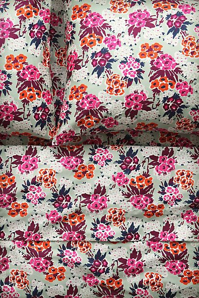 Desperately want these but no Full Size! WTF!  Do we think queen would look too weird?  Nosegay Sheet Set #anthropologie