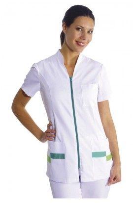 Chaqueta sanitaria mujer cuello mao detalles en color de