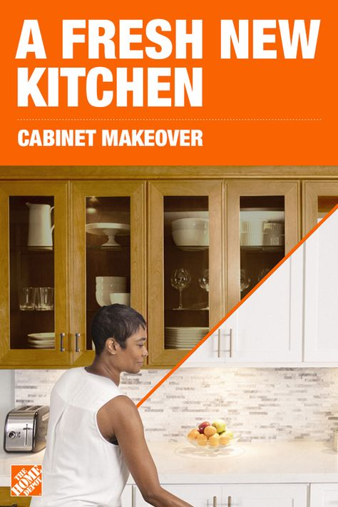 Choose from a variety of door and drawer options, styles and colors to match your inspiration, and have it installed in as little as 3-5 days. Plus, installation is backed by The Home Depot. Click to learn more and see how a Cabinet Makeover can transform your kitchen. For license information, visit homedepot.com/licensenumbers.
