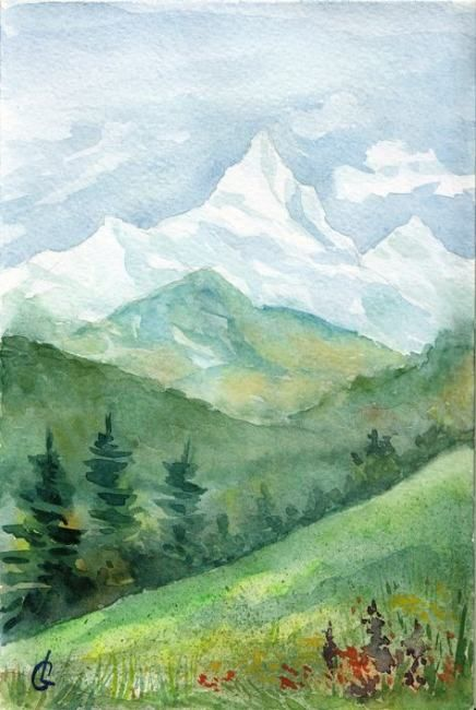 32 Ideas Painting Canvas Mountains Landscapes Painting