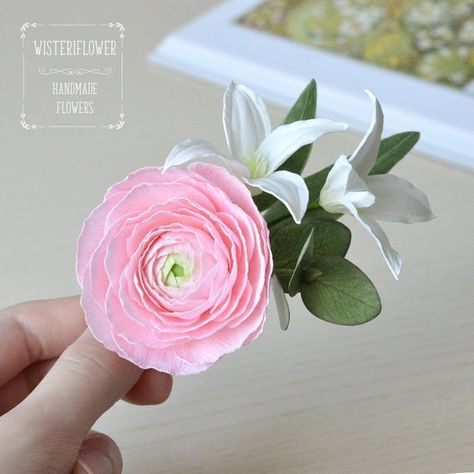 Eucalyptus Wedding Hair Clip Pink Wedding Floral Hair Ranunculus