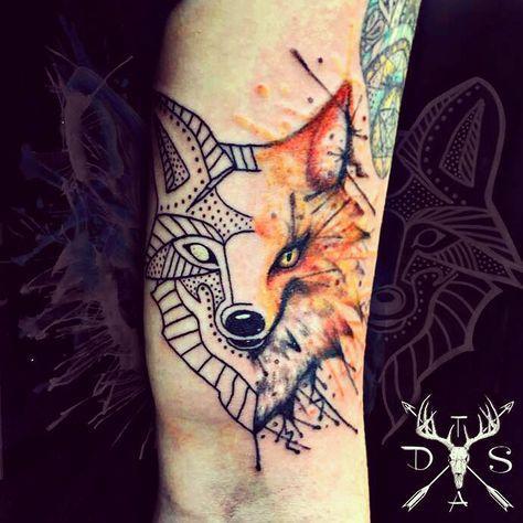 Watercolour And Geometric Fox Tattoo Done By Me Geometric Dog