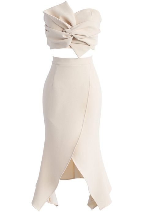 Sweet Knot Bustier Top and Flap Skirt Set in Beige - New Arrivals - Retro, Indie and Unique Fashion