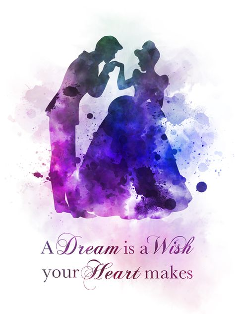 Cinderella Quote ART PRINT Dance, Prince Charming, Nursery, Gift, Wall Art, Home Decor, Gift Ideas, Disney, Birthday, Christmas, Inspirational, A Dream is a Wish your Heart makes