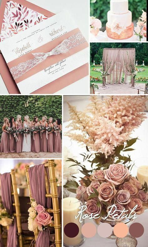 Dusty rose wedding inspiration Mauve wedding color trends 2016 Dusty Rose wed Weddings Part 2 Spring Wedding Colors, Blush Wedding Colors, Wedding Colora, February Wedding Colors, Pastel Wedding Colors, Unique Wedding Colors, Pink Wedding Theme, Champagne Wedding Colors Scheme, Wedding Shoes