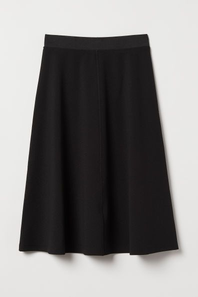 Pdp Knee Length Black Skirt Knit Skirt Outfit Jersey Knit Skirt