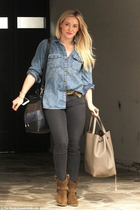 Hilary Duff wearing Current/Elliott the Perfect Shirt Without Epaulettes in Well Worn, Proenza Schouler Python and Leather Bucket Bag, Celine Phantom Cabas Tote and Isabel Marant Rawson Harness Boots
