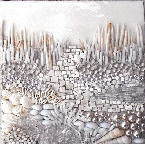 Laura Rendlen. Abstract mosaic using variety of materials including shells, beads, tiles, gems...love it!