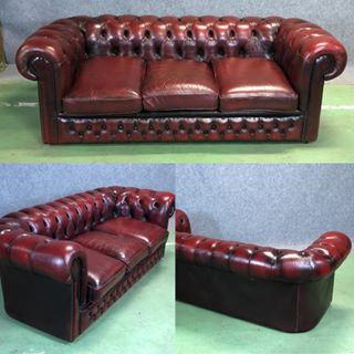 Canape Chesterfield En Cuir Rouge Antiques Antiquites Vintage Galery Deco Homedecoration Decoration Frencha Meuble Anglais Canape Chesterfield Cuir Rouge