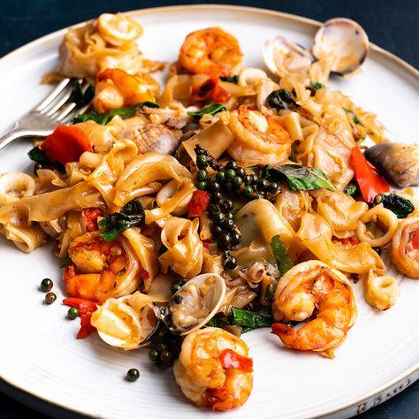 Spicy Seafood Drunken Noodles - Marion's Kitchen
