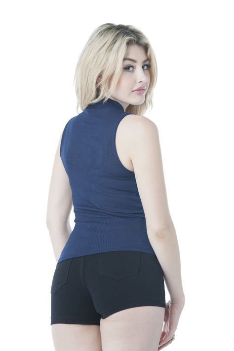 Super soft, comfy and stretchy. This top can be worn for any occasion. Click here to review our size chart - Sleeveless ribbed mock neck - Imported - 54% Rayon 43% Polyester 3% Spandex - Hand wash cold - 22