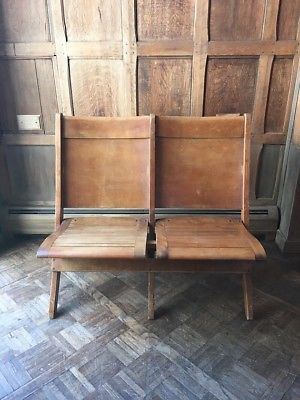 Awesome Antique Wood Folding Theater Seats Set Of Wood Chairs Caraccident5 Cool Chair Designs And Ideas Caraccident5Info