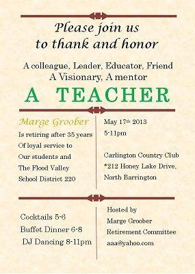 Teachersday Retirement Party Invitations Teacher Retirement