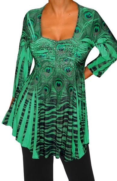 special discount new photos hot-selling latest Plus Size Clothing Emerald Green Empire Waist Womens Top ...